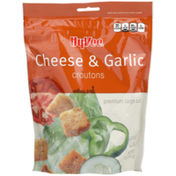 Hy-Vee Croutons, Baked, Cheese & Garlic, Premium Large Cut