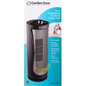 Comfort Zone Desktop Tower Fan, Oscillating, 12 Inch