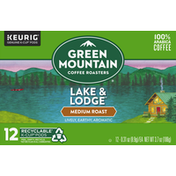 Green Mountain Coffee Roasters Coffee, Medium Roast, Lake & Lodge, K-Cup Pods, 12 Pack