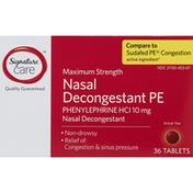 Signature Select Nasal Decongestant PE, Maximum Strength, 10 mg, Tablets