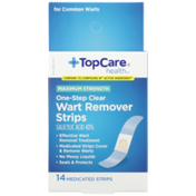 TopCare Maximum Strength One-Step Wart Remover Salicylic Acid 40% Medicated Strips, Clear