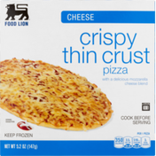 Food Lion Pizza, Thin Crust, Crispy, Cheese, Box