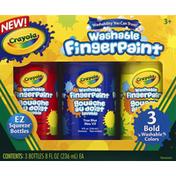Crayola Fingerpaint, Washable, Bold Colors, 3+