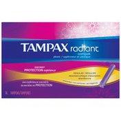 Tampax Compak Radiant Plastic Regular Absorbency Unscented Tampons