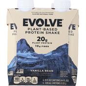 Evolve Protein Shake, Plant-Based, Vanilla Bean, 4 Pack