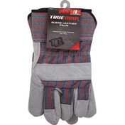 True Grip Gloves, Suede, Leather Palm, Large (L)