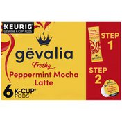 Gevalia Frothy Peppermint Mocha Latte 2-Step K-Cup Espresso Pods with Latte Froth Packets