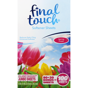 Final Touch Softener Sheets, Spring Fresh, Jumbo