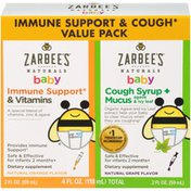 Zarbee's Naturals Baby Immune Support & Cough Syrup + Mucus Value Pack