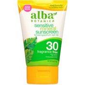 Alba Botanica Fragrance Free Broad Spectrum SPF 30 Sensitive Mineral Sunscreen Lotion