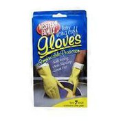 Western Family Latex Gloves, Long Cuff - Small