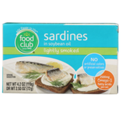 Food Club Lightly Smoked Sardines In Soybean Oil