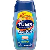 Tums Smoothies Extra Strength 750 Assorted Fruit Chewable Tablets Antacid