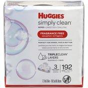 Huggies Simply Clean Unscented Baby Wipes, 3 Flip-Top Packs (