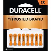 Duracell Batteries, Zinc Air 13, 1.45 V, 8 Pack