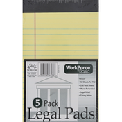 Workforce Legal Pads, Canary Yellow, 5 Pack