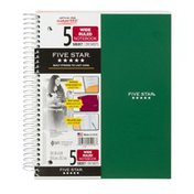 Five Star 5 Subject Wide Ruled Notebook
