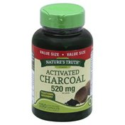 Natures Truth Activated Charcoal, 520 mg, Capsules, Value Size
