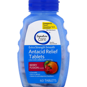 Signature Care Antacid Relief, Extra Strength Smooth, Calcium Carbonate 750 mg, Berry Fusion Flavor, Tablets