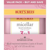 Burt's Bees 3 In 1 Micellar Facial Towelettes With Rose Water
