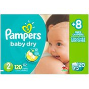 Pampers Baby Dry Diapers Size 2 Bonus Pack 112 Count Diapers