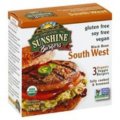 Sunshine Burger Veggie Burgers, Organic, Black Bean Southwest