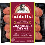 Aidells Smoked Chicken Sausage, Cranberry and Thyme, 12 oz. (4 Fully Cooked Lin