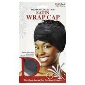 Donna Wrap Cap, Satin, Black 22211