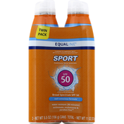 Equaline Sunscreen, Continuous Spray, Broad Spectrum SPF 50, Twin Pack