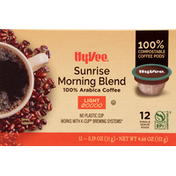 Hy-Vee Coffee, 100% Arabica, Light, Sunrise Morning Blend, Pods