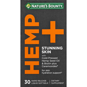 Nature's Bounty Hemp + Stunning Skin, Rapid Release Liquid Softgels