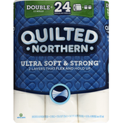 Quilted Northern Bathroom Tissue, Unscented, Double Rolls, 2-Ply