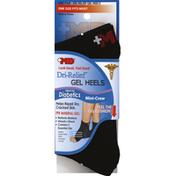Md Socks, Dri-Relief Gel Heels, Mini-Crew, One Size Fits Most, Black