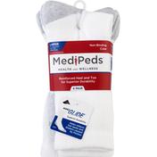 MediPeds Socks, Non-Binding Crew, White, Large
