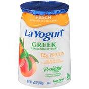 La Yogurt Yogurt, Greek, Nonfat, Blended, Peach