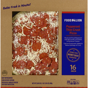 Food Lion Pizza, Thin Crust, Pepperoni, 16 Inch