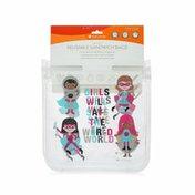 Full Circle Ziptuck Kids, Reusable Sandwich Bags, Girl Heroes