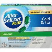 Alka-Seltzer Plus Night Cold & Flu Maximum Strength Liquid Gels Pain Reliever & Fever Reducer
