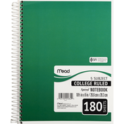 Mead Notebook, Spiral, 5 Subject, College Ruled, 180 Sheets