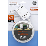 GE Extension Cord, USB Charging, with Surge Protection, 12 Feet