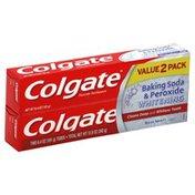 Colgate Baking Soda & Peroxide Whitening, Fluoride Toothpaste, Brisk Mint, Paste, Value 2 Pack, Box