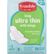 Krasdale Pads with Wings, Ultra Thin, Heavy, Long, Size 3