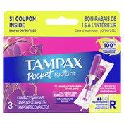 Tampax Pocket Radiant, Regular, Compact Plastic Tampons, Unscented
