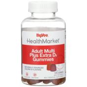 Hy-Vee Healthmarket, Adult Multi Plus Extra D3 Multivitamin & Multimineral Supplement Vegetarian Gummies, Assorted