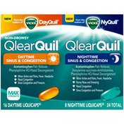 Vicks Allergy Relief Vicks QlearQuil Sinus & Congestion Relief, Day or Night 24 Count  Respiratory Care