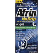 Afrin Nasal Decongestant, Pump Mist, Night, No Drip, with Soothing Chamomile Scent