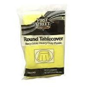 """First Street Mimosa Yellow Heavy Duty Plastic Round Table Cover 84"""" Diameter"""