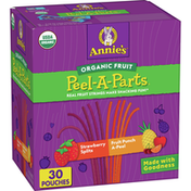 Annie's Organic Fruit Peel-A-Parts Fruit Snacks, Strawberry and Fruit Punch 30 Count