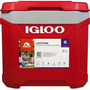 Igloo Cooler, Lattitude, Roller, Red/Gry, 60 Quart