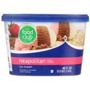 Food Club Neapolitan Strawberry, Chocolate, Vanilla Flavored Ice Cream